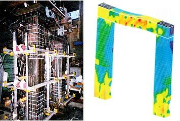 鋼製ラーメン橋脚の載荷実験の様子の写真(左)と、数値シミュレーションの結果のイメージ(右)