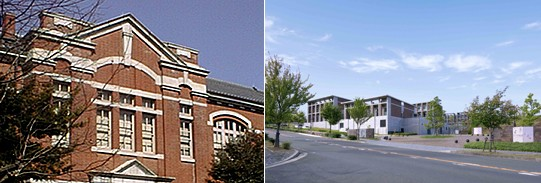 旧土木教室(左)と桂キャンパス(右)の写真